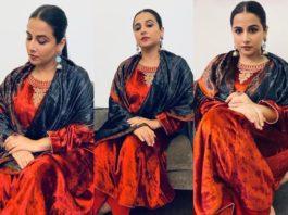 Vidya Balan wearing a red velvet collection