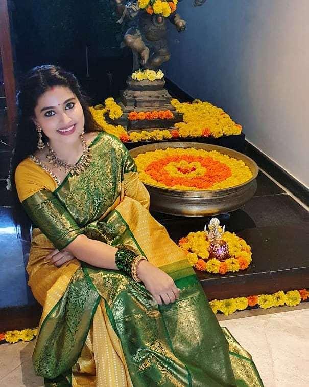 Sneha prasanna in yellow saree by muhurth and prasanna in gold kurta for diwali 1