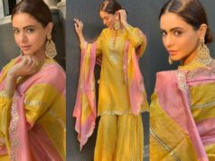 Aamna Sharif in a pink-yellow kurta set by pink city