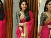 Actress Sneha in a red saree and green blouse by geethu haut couture