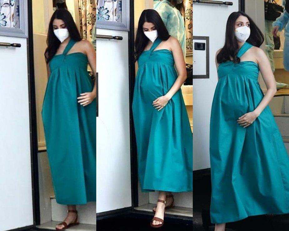 Anushka sharma in a teal dress for an ad shoot2 (1)