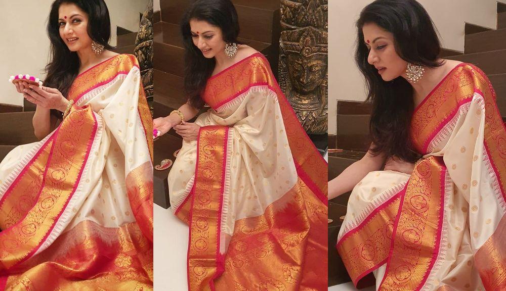 Bhagyasree in ivory pattu saree by vasireddy's