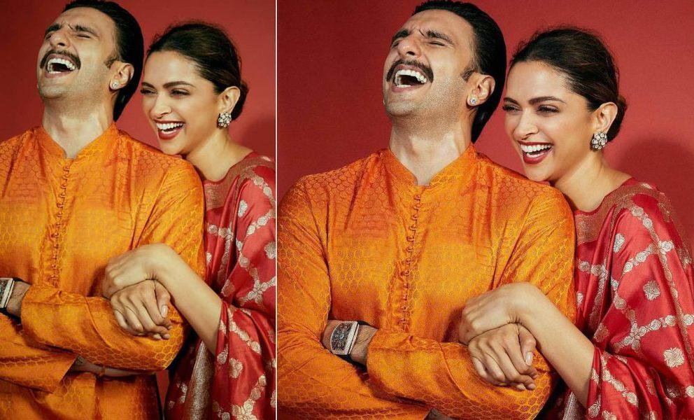 Deepika in red kurta set and ranveer in orange for diwali featured