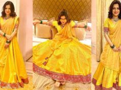 Dhivyadharshini in yellow lehenga by Suresh Menon