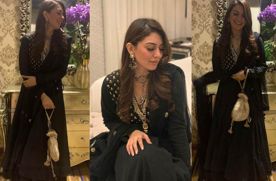 Hansika motwani in a black kurta set by date the ramp