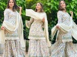 Hina Khan in a block printed gharara set by tasha