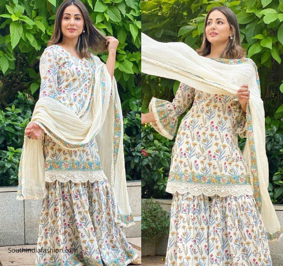 Hina Khan in block printed gharara set by tasha