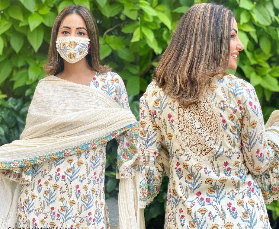 Hina Khan in block printed sharara set by tasha