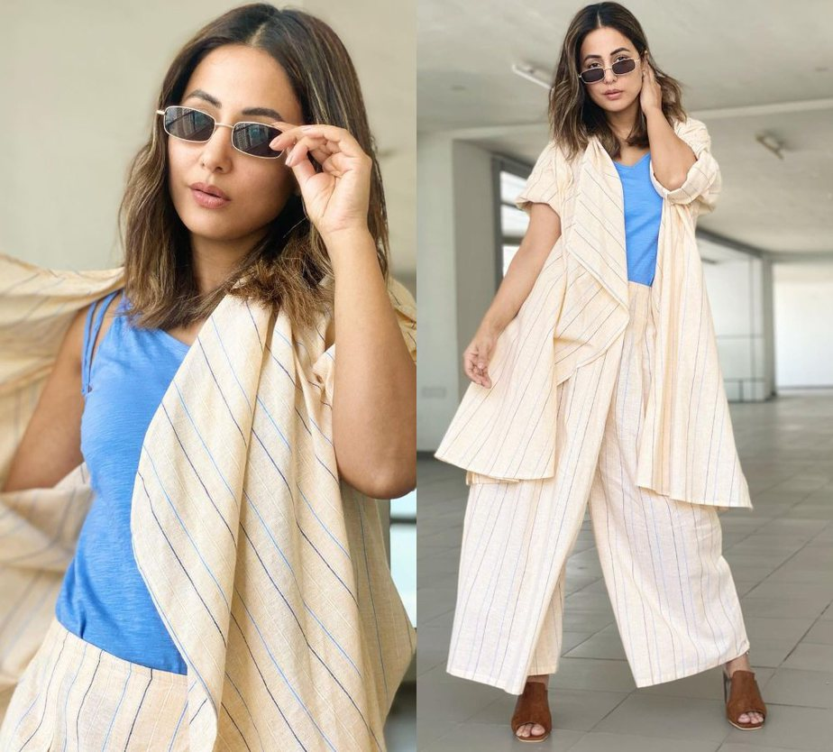 Hina khan in a cream outfit by fuss pot 5