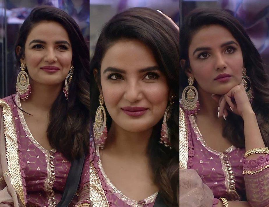 Jasmin Bhasin in purple sharara set
