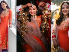 Kajal Aggarwal in Shyamal Bhumika outfit for haldi