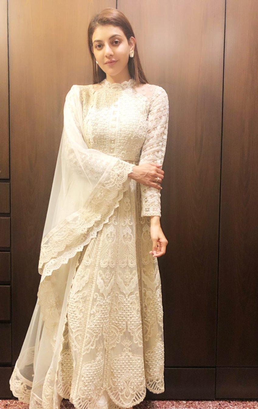 Kajal Aggarwal in ivory dress for Bhaidooj