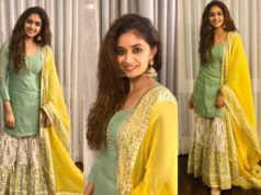 Keerthy Suresh in green and yellow kurta outfit for diwali