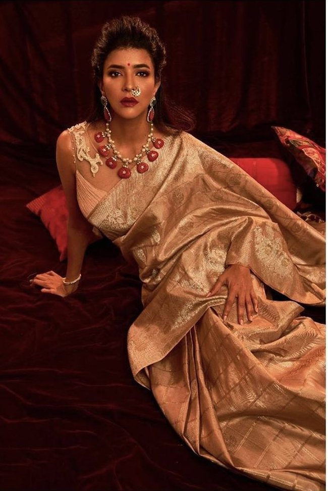 Lakshmi manchu in a golden saree 1.2