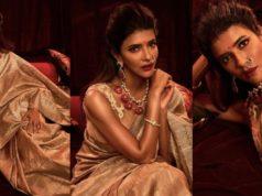Lakshmi manchu in a golden saree (5)