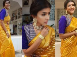 Lakshmi manchu in a yellow saree by raw mango featured