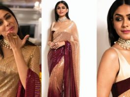 Mrunal thakur in a oombre sequined saree by manish malhotra featured