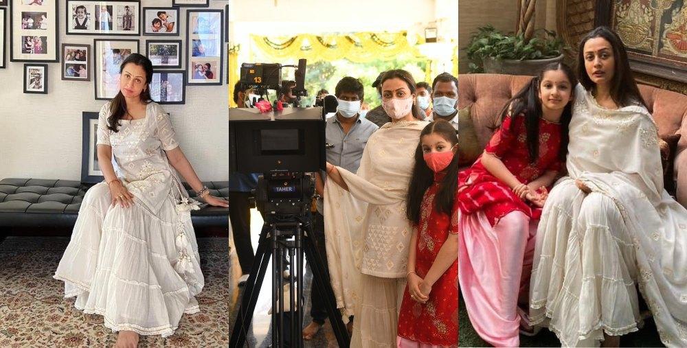 Namrata Shirodhkar in off white sukriti akriti kurta set 3