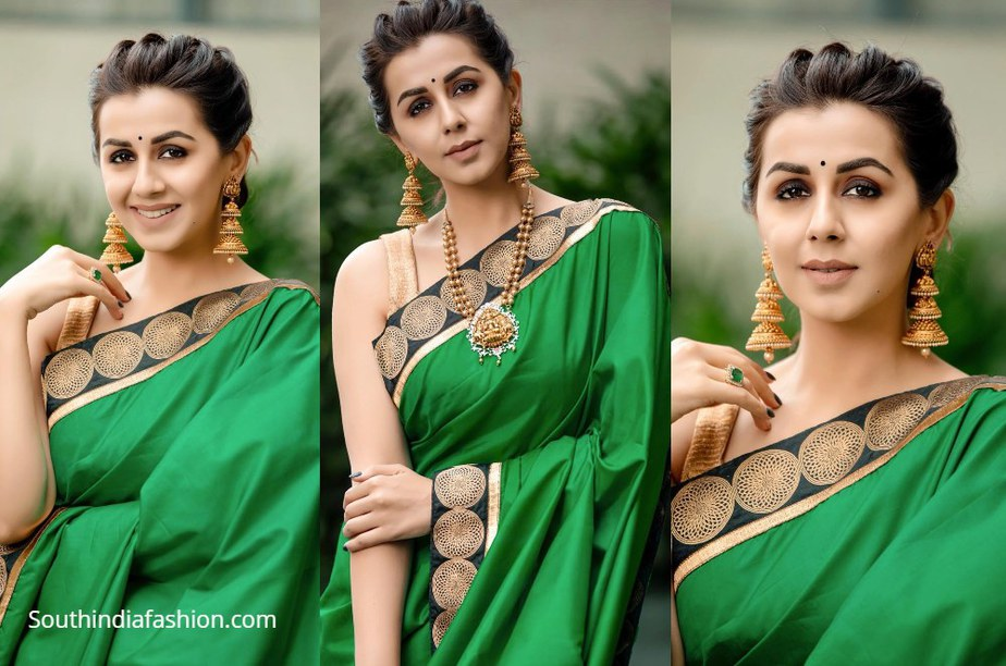 Nikki Galrani in green and gold traditional saree
