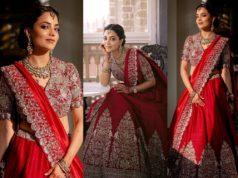 Nisha Aggarwal in red lehenga from jayanti reddy label on kajal agarwal wedding