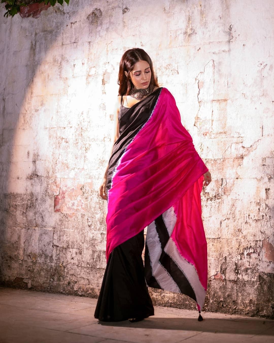 Nushrat Barucha in a trendy color-blocked Shibori Saree by Medium!