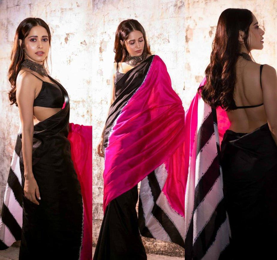 Nusrat Barucha in a color blocked saree