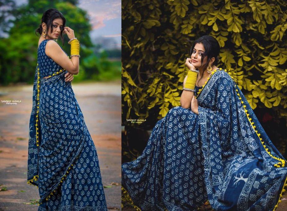 Priyamani in indigo mulmul saree for dhee champions