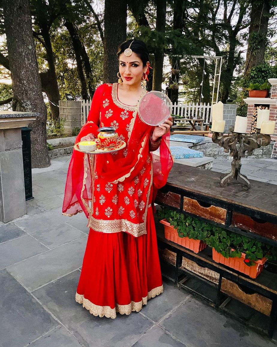 Raveeena in red salwar suit for karwa chauth 3