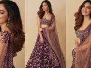 Ritu varma in purple lehenga by mishru for diwali
