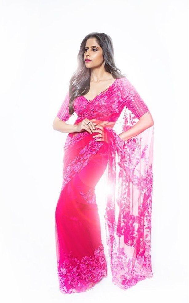Sai tamhankar in a pink saree by premya 1