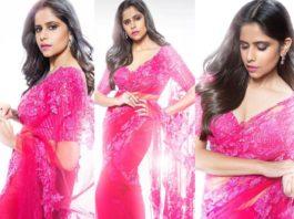Sai tamhankar in a pink saree by premya