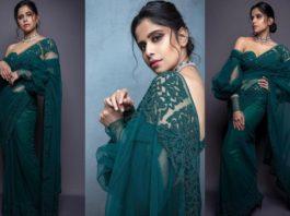Sai tamhankar in emerald green saree