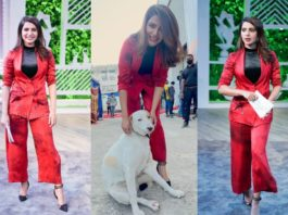 Samantha Prabhu in red pantsuit for her new talk show