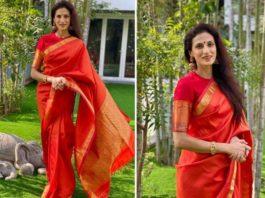 Shilpa reddy in a red kanchi saree