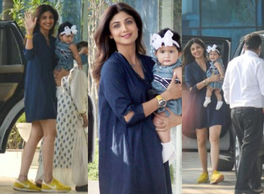Shilpa shetty spotted with daughter in a blue basic dress