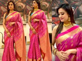 Shweta tiwari in pink benarasi silk saree