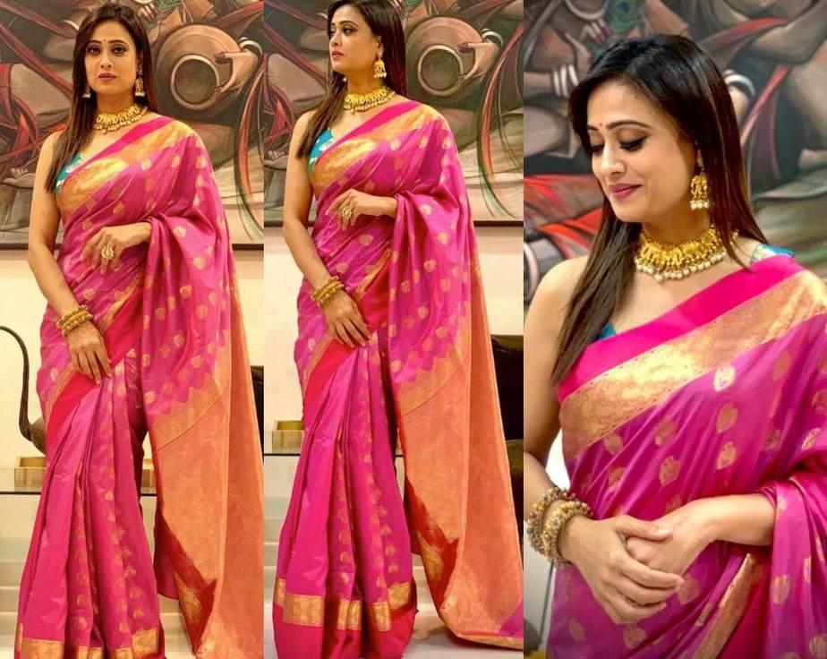 Shweta Tiwari At Dadasaheb Phalke Icon Award In A Pink Silk Saree Hindi tv serial actress shweta tiwari stills in blue transparent saree at the launch of life ok channel's ek thi naayika serial. shweta tiwari at dadasaheb phalke icon