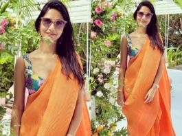 Sneha reddy in an orange pant saree by aisha Rao for a wedding in Maldives1