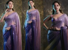 Tamannaah bhatia in a purple sequin saree at aha event