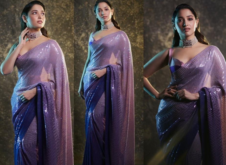 Tamannaah bhatia in a purple sequin saree at aha event