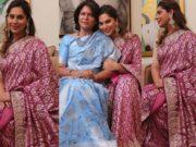 Upasana Konidela in anita dongre saree for mother's 60th b'day