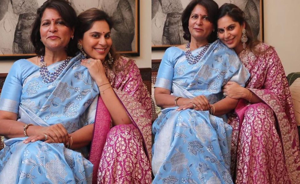 Upasana Konidela in anita dongre saree for mother's 60th b'day1.1