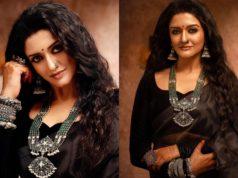 Vimala Raman in black saree for photoshoot