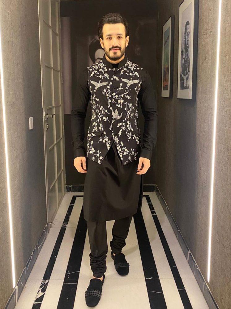 akhil akkineni in black kurta pyjama nehru jacket