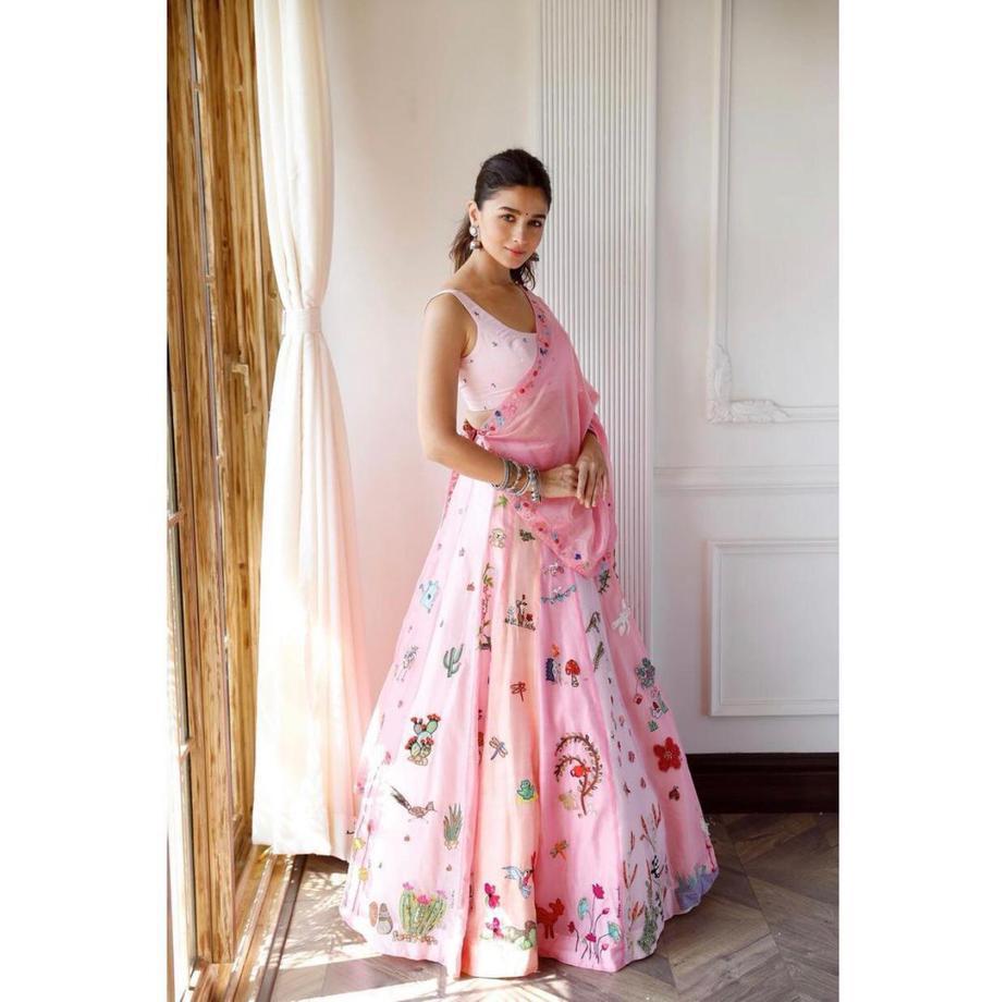 alia bhatt in pink lehenga by madhurya