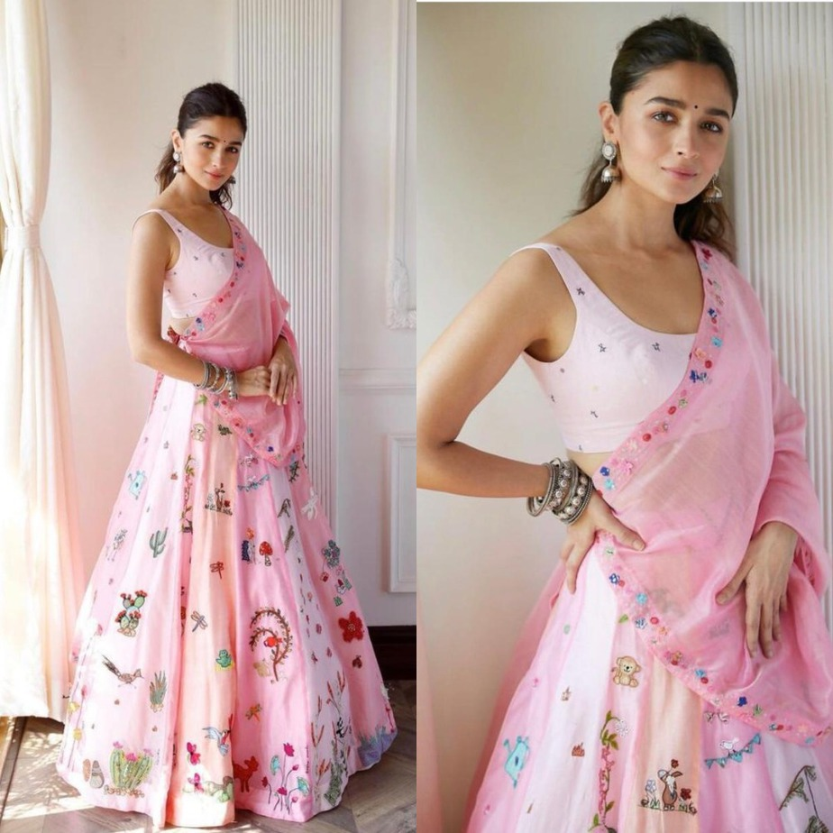 alia in pink lehenga by madhurya