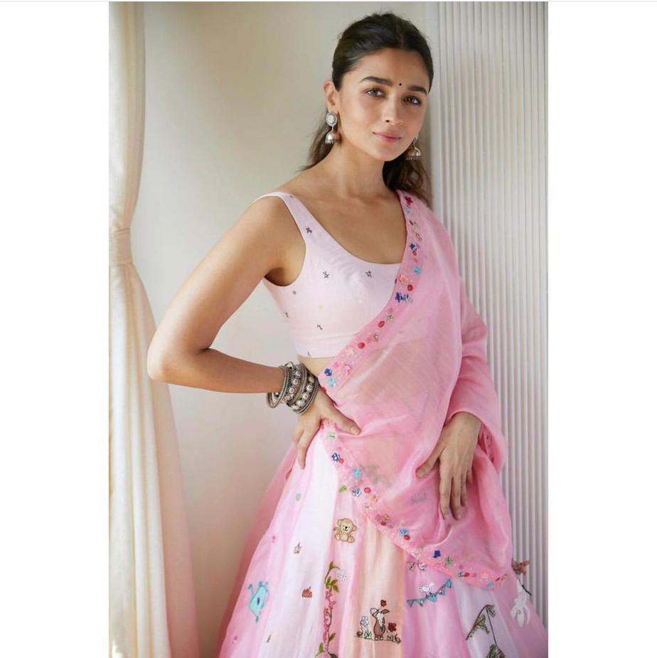 alia in pink lehenga by madhurya