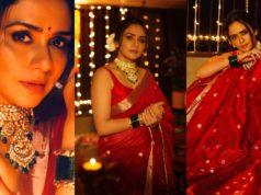 amruta khanvilkar in red saree for diwali 2020