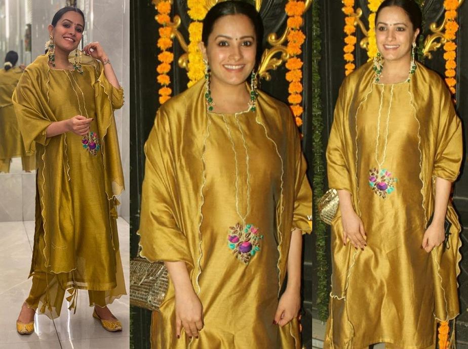 anita hassanandini in mustard gold salwar suit in ekta kapoor diwali 2020 bash