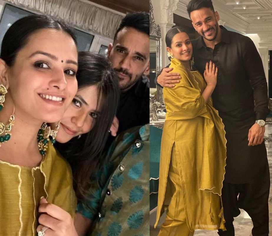 anita hassanandini in mustard gold salwar suit in ekta kapoor diwali 2020 party with husband rohit